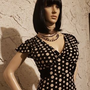 Polka dot black & cream dress & necklace